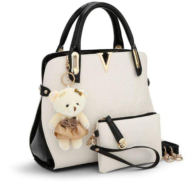 SUNNY SHOP 2 Bags/set With bear toy Casual Embossed Handbag Designer Handbag High Quality Women Messenger Bags Shoulder Bags