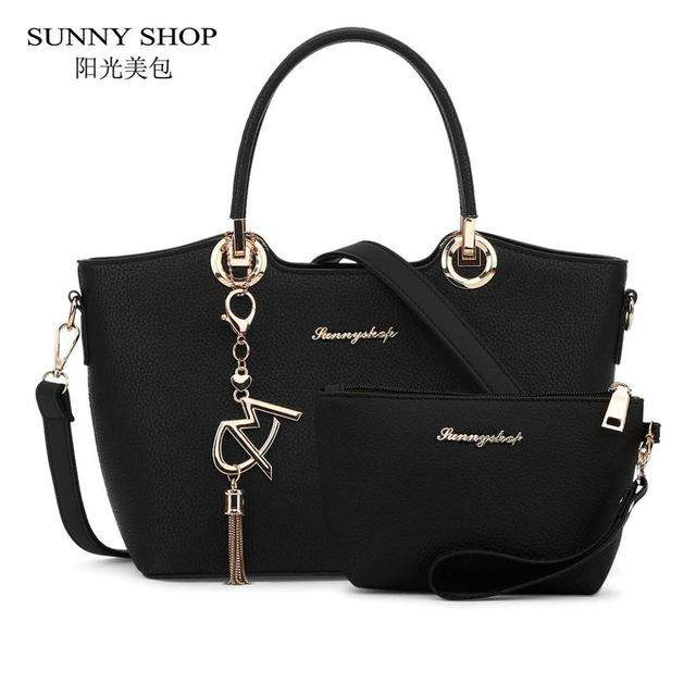 SUNNY SHOP 2 Bags/Set American Fashion Women Shoulder Bags With Purse Fashion Handbag High Quality PU Leather Women Bag