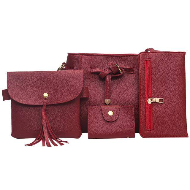 4Pcs/Sets Women Leather Purse and Handbag New Korean Ladies Composite Bag Simple Vintage Women Bag Female Shoulder Bag Bolsos