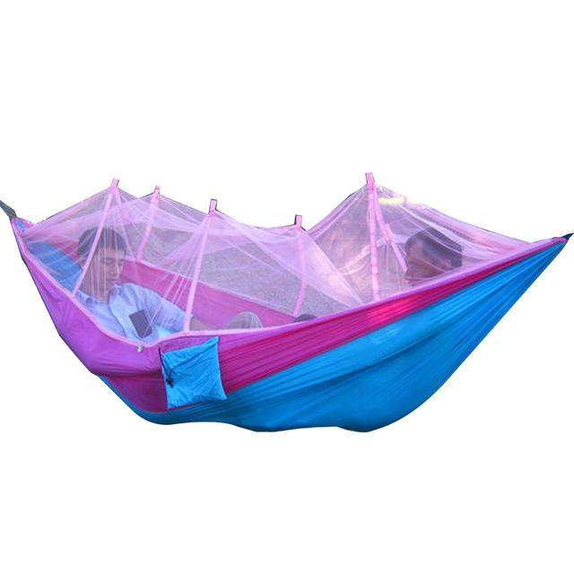 260x130cm Portable High Strength Parachute Fabric Camping Hammock Hanging Bed With Mosquito Net Sleeping Hammock