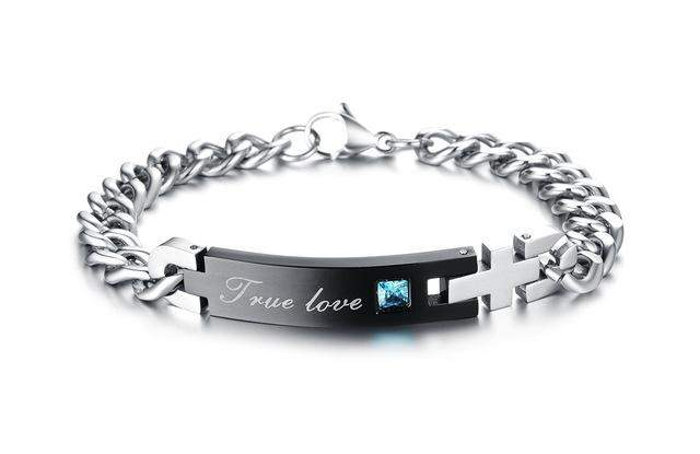 OPK Free Box! Stainless Steel True Love Couple Bracelet & bangle with Blue / pink Crystal Chain Fashion ID Bracelet, 718