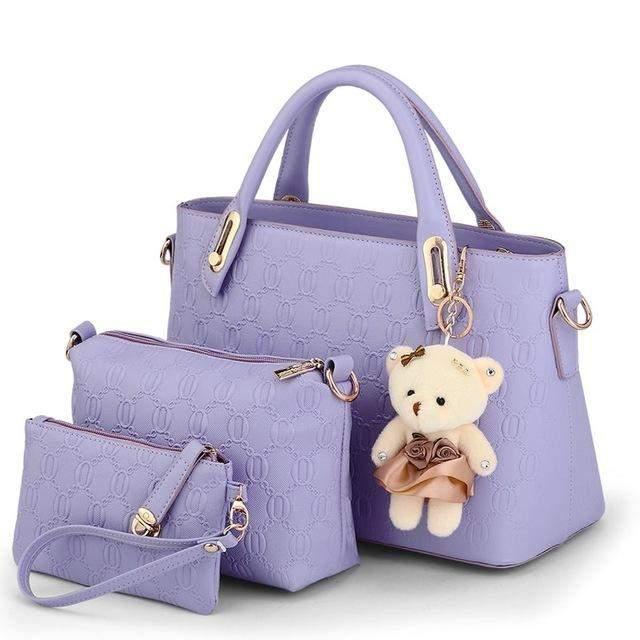 SUNNY SHOP 3 Bags/set W/bear toy Casual Embossed Designer Handbags High Quality Women Messenger Bags American Shoulder Bags - successmall