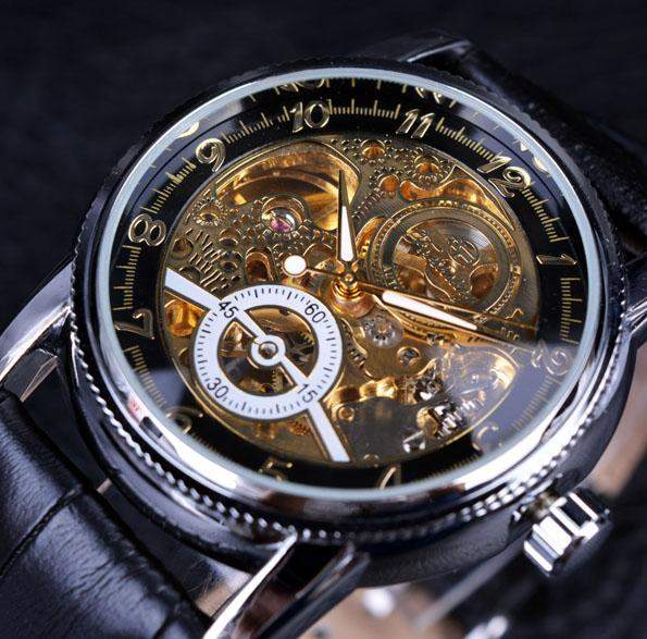 2016 Forsining Hollow Engraving Skeleton Casual Designer Black Golden Case Gear Bezel Watches Men Luxury Brand Automatic Watches - successmall