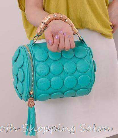 2015 New Fashion Women Handbag Big Button Round Bucket Bag Lady Leather One Shoulder Messenger Small Tassel Bags - successmall