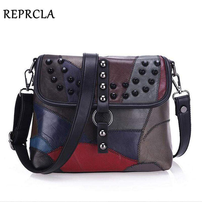 2017 New Genuine Leather Bag Rivet Patchwork Women Messenger Bags Crossbody Fashion Designer Handbags Shoulder Bag L037 - successmall