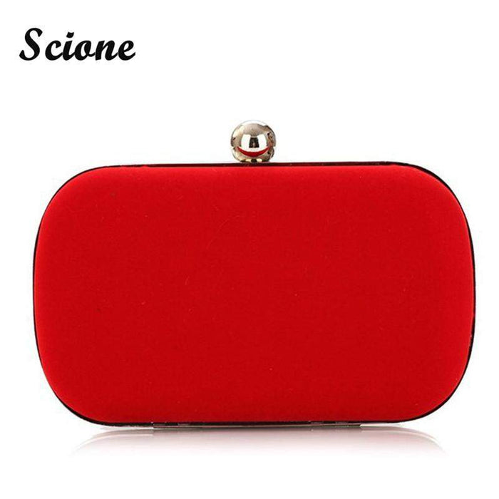 2017 NEW Noble Women Velvet Clutch Purse Cute Small Evening Bags Bridal Handbags BLACK/BLUE/PINK/RED Wedding Shoulder Bag X926 - successmall