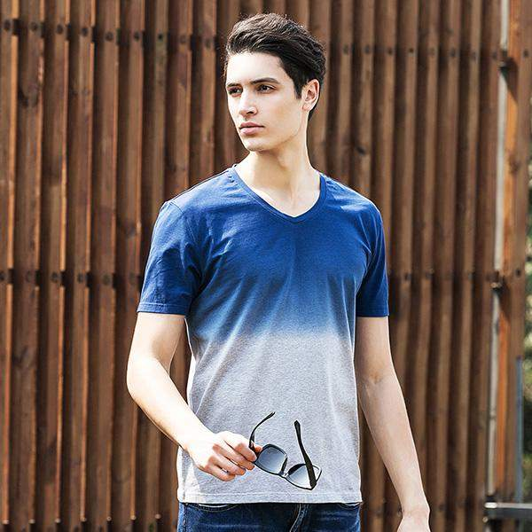 Pioneer Camp High Quality Brand Tshirt Homme V-Neck T Shirt Men Soft&Breathable Clothing Contrast Color Slim Camiseta 655012 - successmall