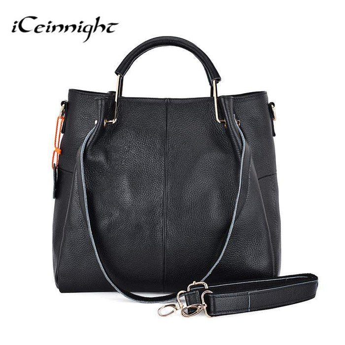 iCeinnight 100% genuine leather Big women bag casual tote High quality black shoulder composite female bag with long belt - successmall