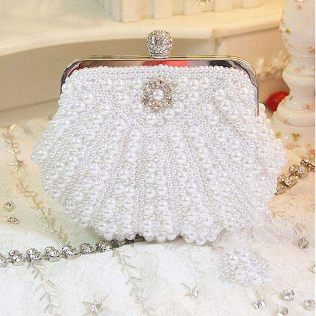 Shell-Shaped Luxury Two Sided Crystal Evening Clutch Bag Elegant Women Handbag Wedding Bridal Handbag Purse Female Messenger Bag
