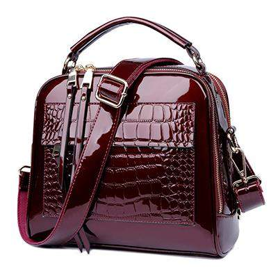 Herald Fashion Women Patent Leather Handbags Crocodile Design Shopper Tote Bag Female Luxurious Shoulder Bags - successmall