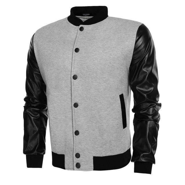 COOFANDY Men Sweater PU Leather Collar Sweater Personalized Baseball Stitching Clothes Man Jacket Plus Size S-2XL EZ - successmall