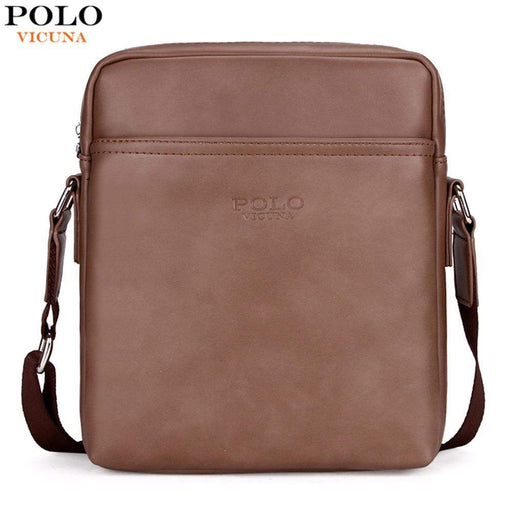 3e37232089 VICUNA POLO Simple Solid Design Business Man Bag Casual Zipper Open Classic  Leather Shoulder Bag For