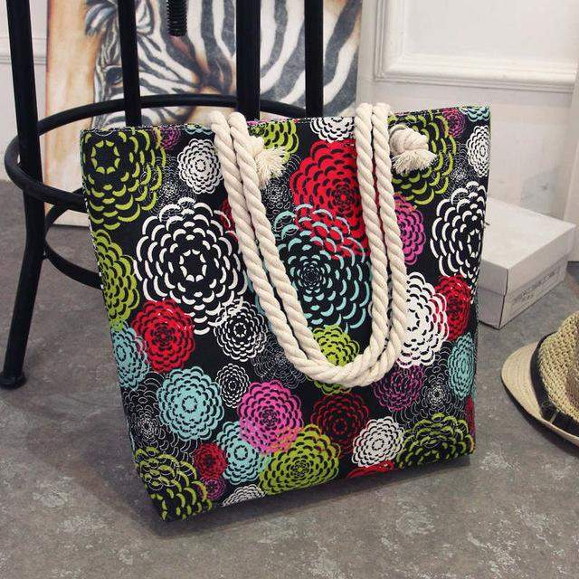 Fashionable Flower Printing Women Handbags Canvas Women Beach Bag Casual Shopping Tote Mummy Shoulder Bag drop shipping JXY820