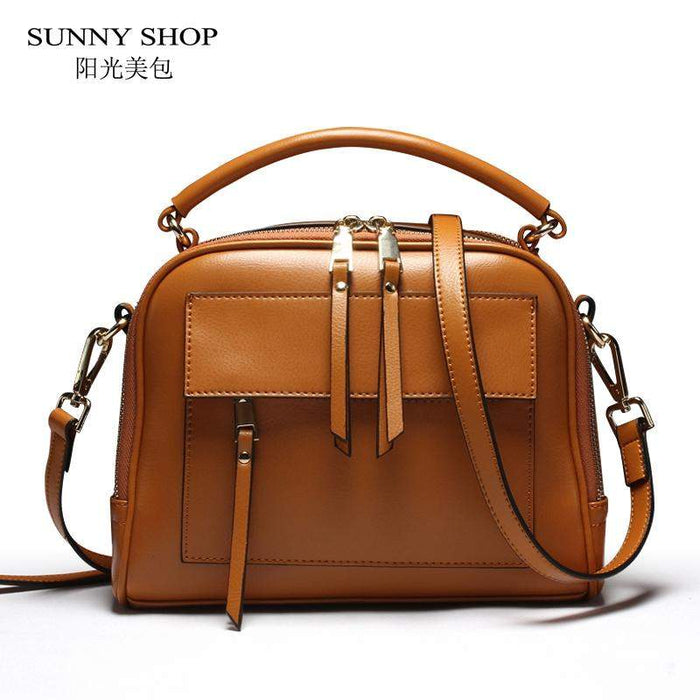SUNNY SHOP Brand Designer Women Leather Bag High Quality Genuine Leather Handbag Cowhide Women Shoulder Bags Candy Color Gifts - successmall