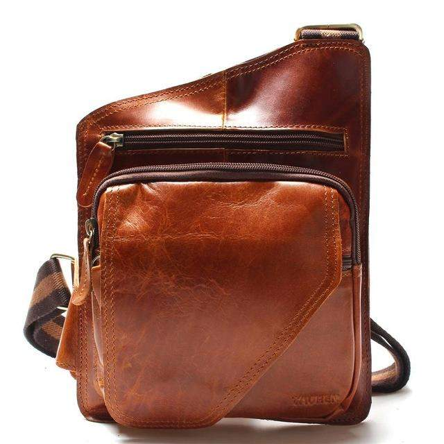 New High Quality Vintage Casual Crazy Horse Leather Genuine Cowhide Men Chest Bag Small Messenger Bags For Man Shoulder Bags - successmall