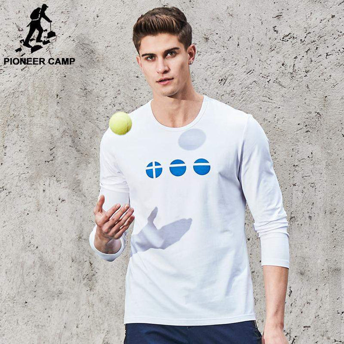 Pioneer Camp New Spring T-shirt men brand clothing simple casual T shirt men top quality elastic printed male Tshirt ACT702023 - successmall
