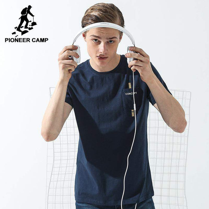 Pioneer Camp simple short T shirt men brand-clothing dark blue summer T-shirt male top quality stretch casual Tshirt ADT702114 - successmall