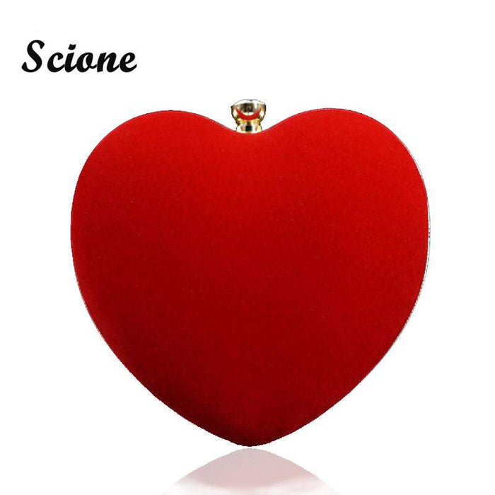 2017 Heart Shape Black/Red Evening Bag Women Diamond Clutch Purse Bridal Wedding Shoulder Hand Bags Small Dress Clutches JXY712