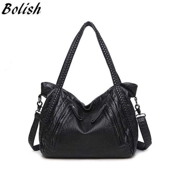 Bolish High Quality Soft PU Leather Top-handle Bag Fashion Women messenger Bag Larger Shoulder Bag Waterproof Women Bag