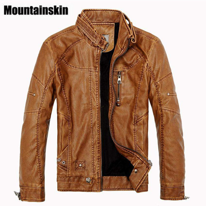 Mountainskin 2017 Winter Men's Leather Jackets Casual Men Vintage Motorcycle PU Faux Jacket Male Moto Coats Brand Clothing SA086 - successmall
