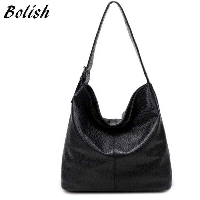 Bolish European and American Style PU Leather Top-handle Bag Fashion Larger Shoulder Bag Brief Capacity Women Bag Shopping Bag