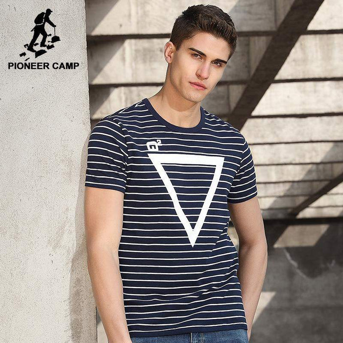 Pioneer Camp new design striped T shirt men brand clothing fashion geometry pattern T-shirt male quality striped Tees ADT701055 - successmall