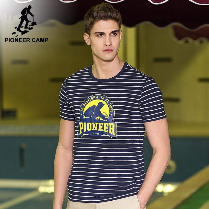 Pioneer Camp New design short T-shirt men brand clothing fashion striped T shirt male top quality casual Top tees ADT701101 - successmall