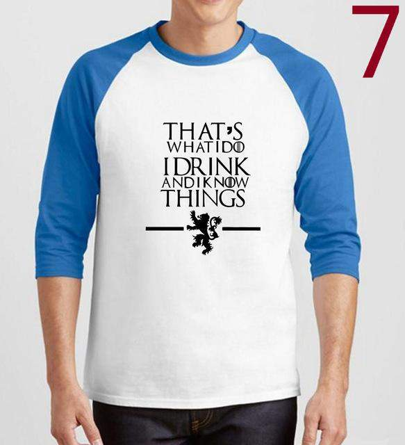 poleras hombre That's What I Do I Drink and I know Things men's T-shirts raglan three-quarter sleeve TShirt 2017