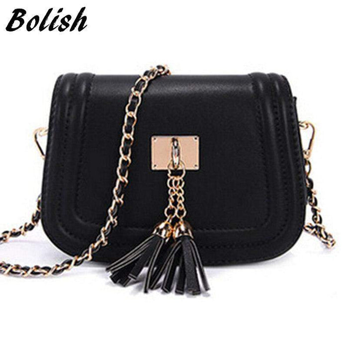 Bolish Spring and Summer Mini Tassel Chain Bag Women Small Bags Pu Leather Women Shoulder Bag Women Clutches