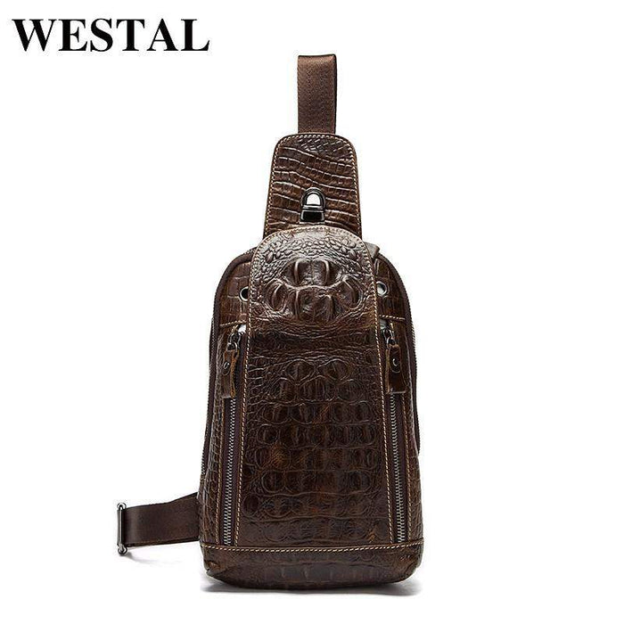 WESTAL Genuine Leather Men Bags Hot Sale Men Crossbody Handbag Alligator Pattern Messenger Bag Male Fashion Shoulder Pack 1311 - successmall