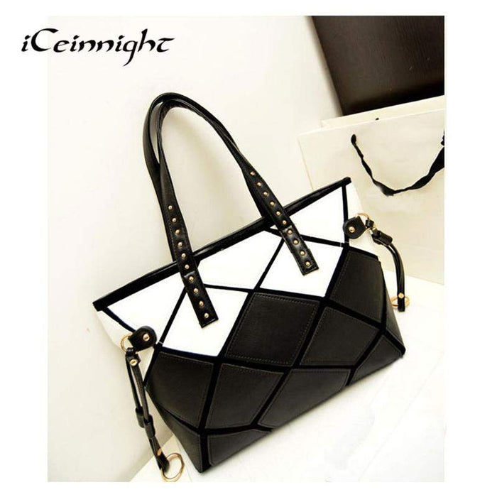 iCeinnight 2017 New High Quality Patchwork Square Handbag PU leather Shoulder Bag Large Women Fashion Totes black white leopard - successmall