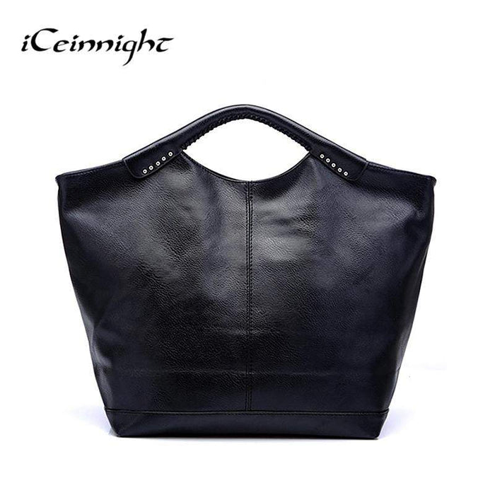 iCeinnight women leather handbags famous brand 2017 black fashion big casual tote long belt messenger bags high quality pu - successmall