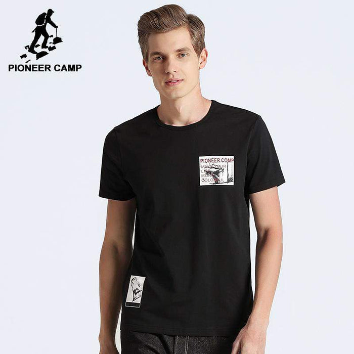 Pioneer Camp black stretch T-shirt men brand clothing fashion printed T shirt male top quality casual summer Tshirt ADT702241 - successmall