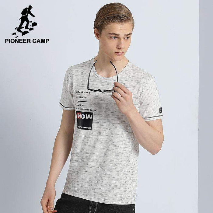 Pioneer Camp New design summer T shirt men brand clothing fashion short T-shirt male top quality casual beige Tshirt ADT705083 - successmall