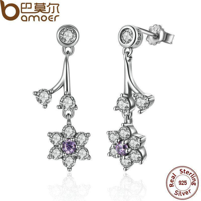BAMOER Summer Collection 925 Sterling Silver Forget Me Not, Purple & Clear CZ Women Drop Earrings Fine Jewelry PAS470