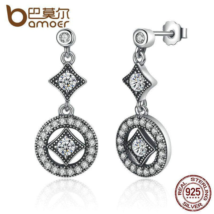 BAMOER Stunning 925 Sterling Silver with AAA Zircon VINTAGE ALLURE Drop Earrings for Women Fashion Jewelry Engagement PAS492