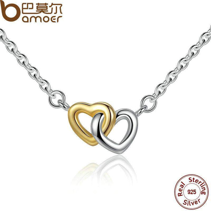 BAMOER 925 Sterling Silver United in Love Silver & Small Chain Necklace & Pendant For Women Sterling-Silver-Jewelry PSN011 - successmall