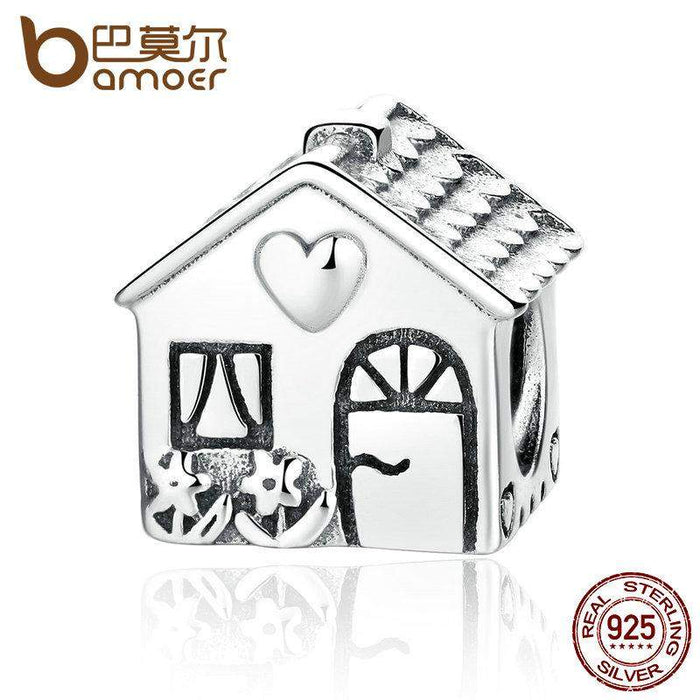 BAMOER Authentic 925 Sterling Silver Love Heart House Charms Fit Bracelets Families Gift Fine Jewelry PAS341 - successmall
