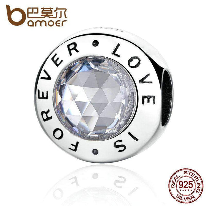 BAMOER Romantic 925 Sterling Silver Love is Forever Round Charms Fit Bracelets Gift Fine Jewelry PAS342