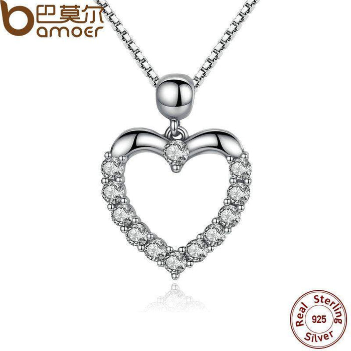 BAMOER New Authentic 925 Sterling Silver Female Heart Pendant Necklace High Quality Fashion Necklace Accessories SCN025