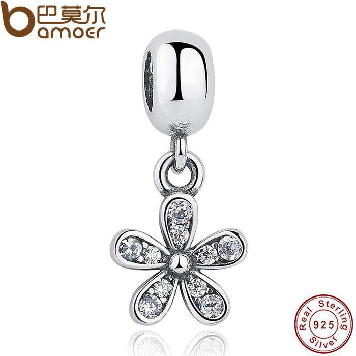 Classic 925 Sterling Silver Dazzling Daisy, Clear CZ For DIY Charms And Pendant Fit Bracelet PAS084