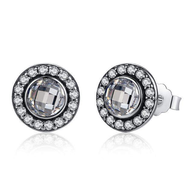 BAMOER Original 925 Sterling Silver Brilliant Legacy Stud Earrings With Pink & Clear CZ for Women Anniversary Jewelry PAS423