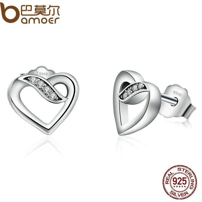 BAMOER Authentic Real 925 Sterling Silver Ribbons Of Love, Clear CZ Stud Earrings Women Wedding Jewelry Femme Brincos PAS496 - successmall