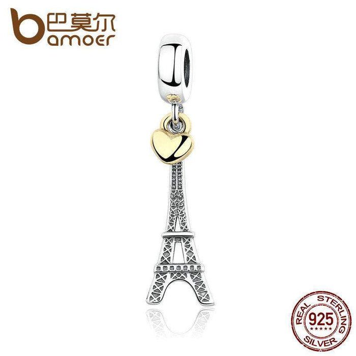 BAMOER Classic 925 Sterling Silver EIFFEL TOWER PENDANT CHARM with Heart Charms fit Bracelets Women Accessories PAS348