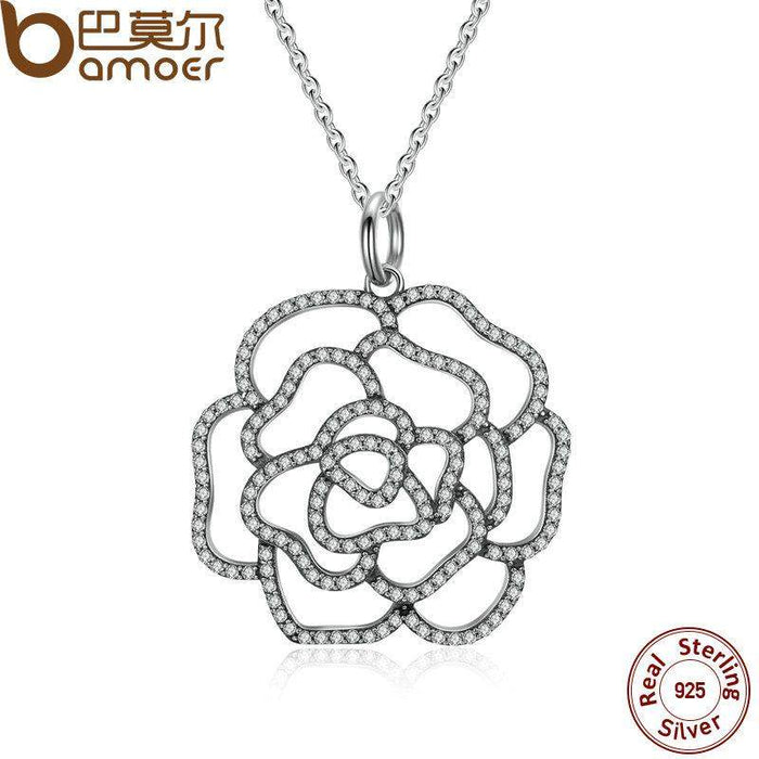 BAMOER 925 Sterling Silver Shimmering Rose Pendant Necklace, Clear CZ Necklaces & Pendants Colares Fine Jewelry PSN004 - successmall