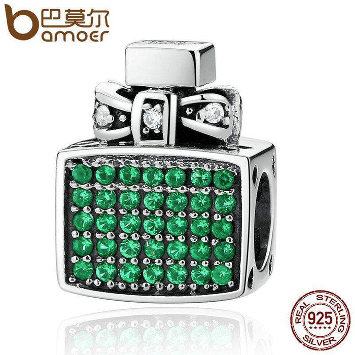 BAMOER Authentic 100% 925 Sterling Silver Green Perfume Bottle Bow Knot Bead Charms Fit Bracelets Jewelry SCC093 - successmall