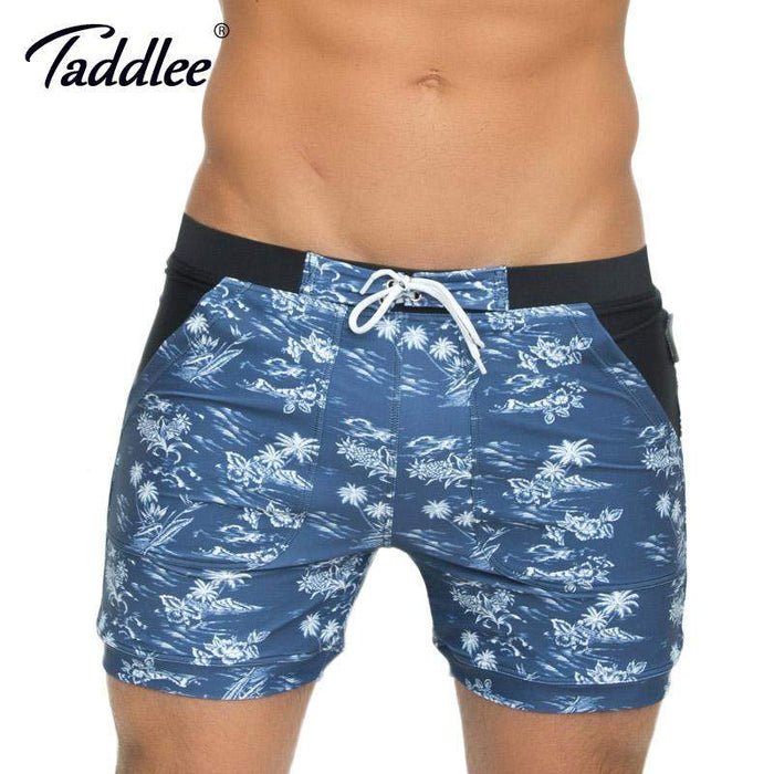 Taddlee Brand Men's Swimwear Swimsuits Basic Beach Board Shorts Plus Size High Rise XXL Traditional Boxer Trunks Bathing - successmall