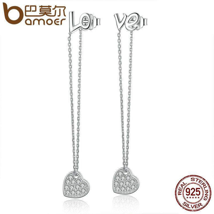 BAMOER 2017 New 100% 925 Sterling Silver LOVE Long Earrings Heart to Heart Drop Earrings for Women Fine Jewelry Brincos SCE038