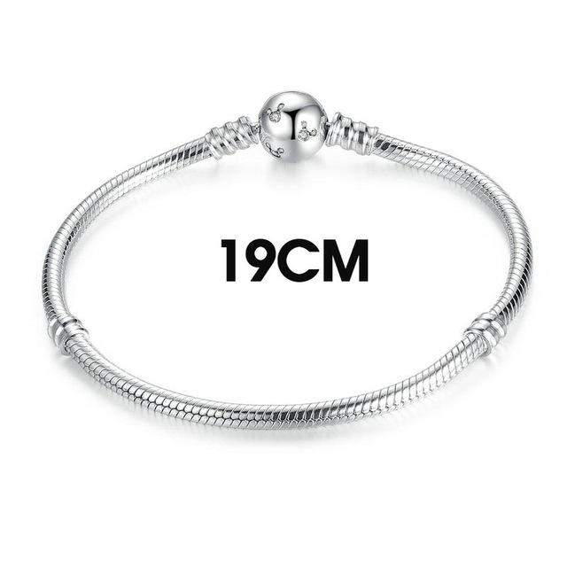 BAMOER Classic 100% 925 Sterling Silver Snake Chain Dsny, Miky Basic DIY Charm Bracelet  for Women Fashion Jewelry PAS912