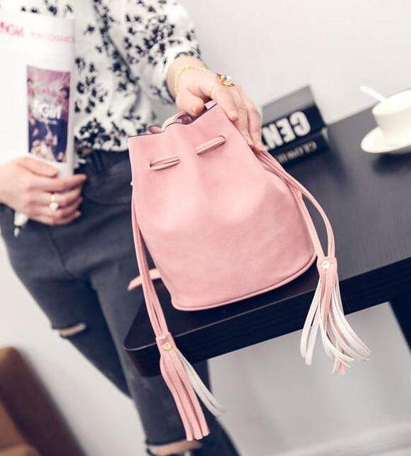 New fashion drawstring bucket bag quality pu leather women bag wild tassel bag simple casual shoulder messenger phone bag - successmall